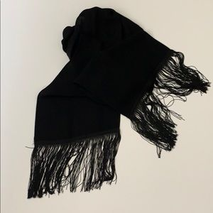 Black crepe fabric fringe scarf very long and wide